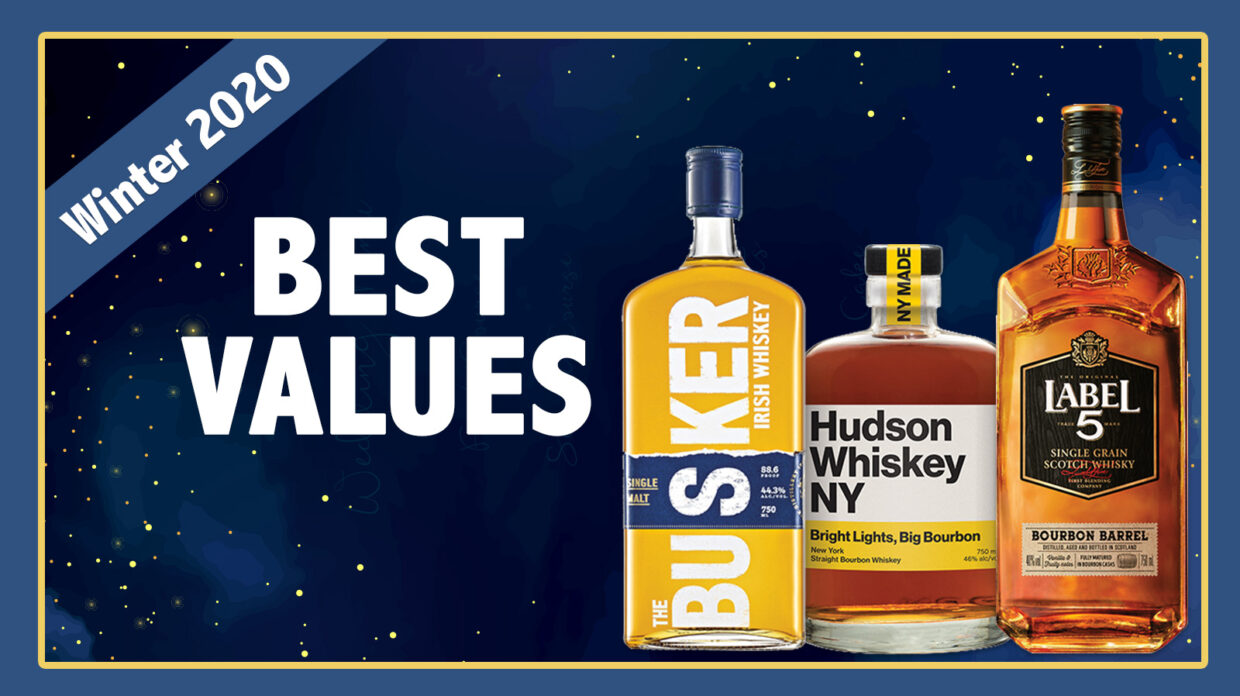 """the busker, hudson bourbon, and label 5 scotch on an illustrated background that says """"best values"""""""