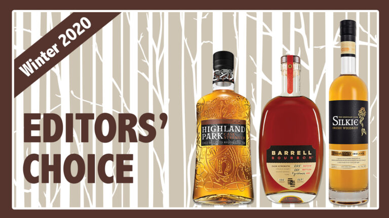 "highland park, barrell, and the legendary dark silkie bottles on an illustrated background that says ""editors' choice"""