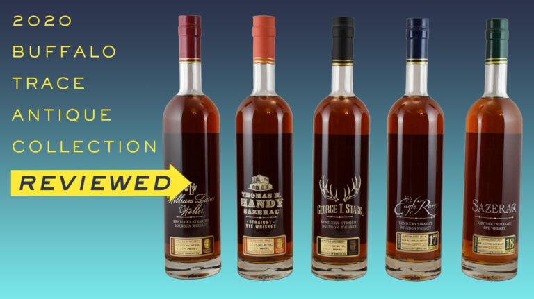 "The 2020 BTAC bottles with text reading ""Buffalo Trace Antique Collection Reviewed"""