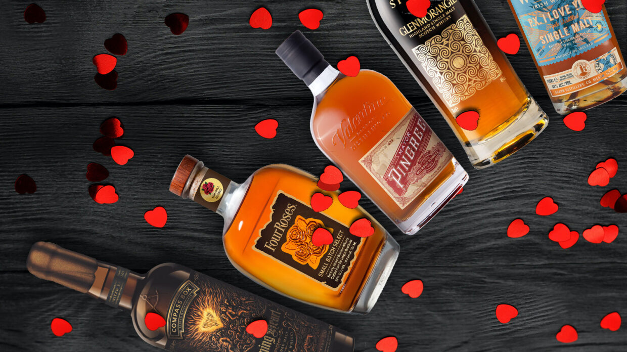 whiskey bottles scattered with red hearts