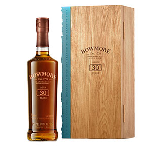 bowmore 30 year old 1989 vintage bottle and box