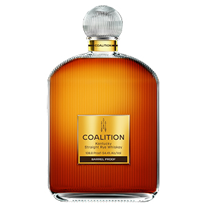coalition barrel proof straight rye bottle