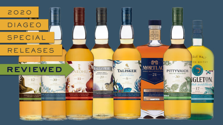"a group of scotch bottles and text reading ""2020 diageo special releases reviewed"""