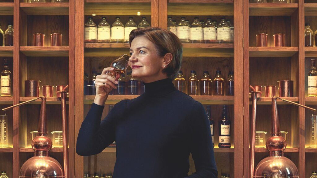 dewar's master blender stephanie macleod sniffs a glass of whisky