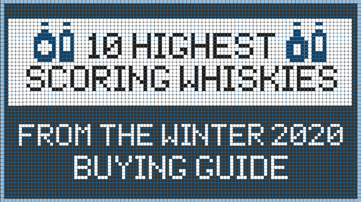 """illustration that reads """"10 highest scoring whiskies from the winter 2020 buying guide"""""""