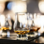 Close-Up Of Scotch Whiskey In Glencairn Glass On Table
