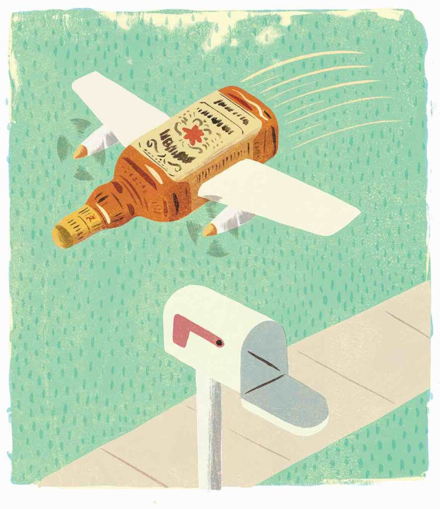 illustration of a whiskey bottle with wings over a mailbox