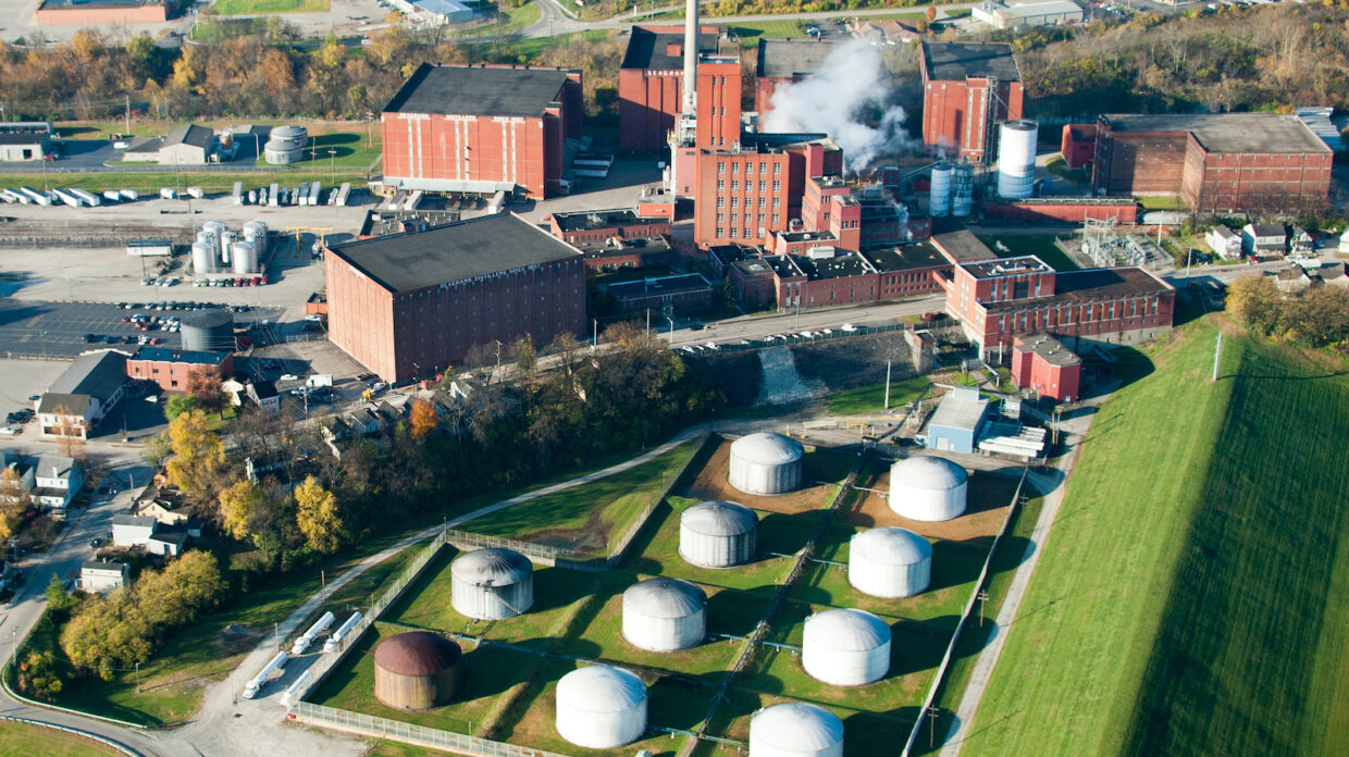 aerial view of MGP distillery in lawrenceburg Indiana