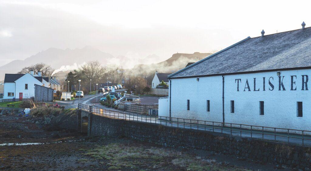 Talisker Distillery at Carbost on Loch Harport, Isle of Skye, Highland Region, Scotland, UK.