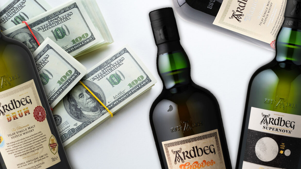 ardbeg committee release bottles and a pile of 100 dollar bills