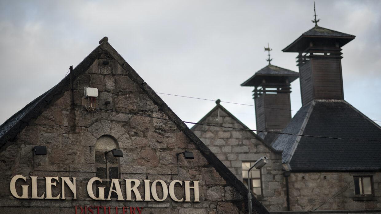 Kiln pagodas and still house exterior at Glen Garioch Distillery