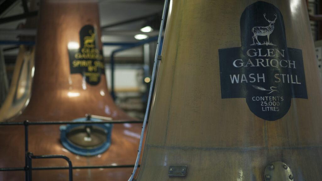 a close up of the neck of the wash still at Glen Garioch Distillery