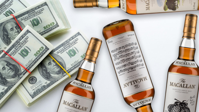bottles of macallan archival series and stacks of $100 bills