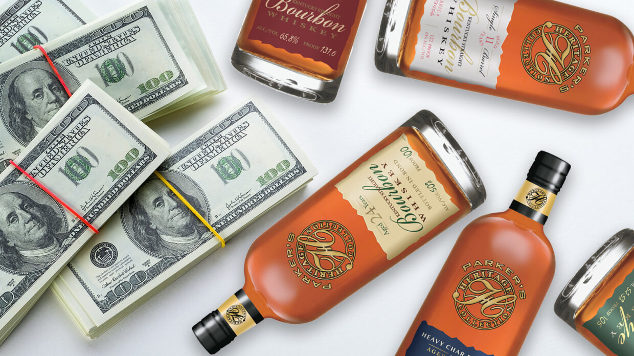 bottles of parker's heritage collection whiskey with $100 bills