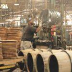 workers making barrels in the brown-forman cooperage