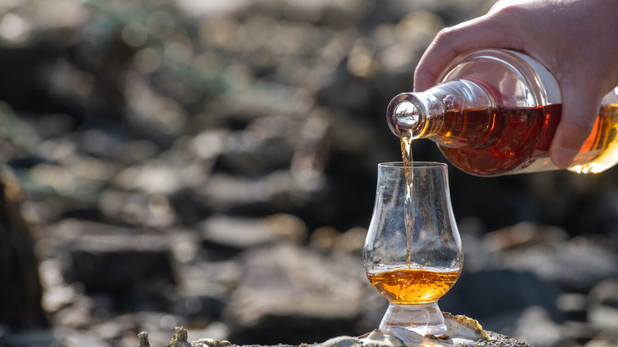 Pouring of Scotch whisky in tasting glass in sunny day