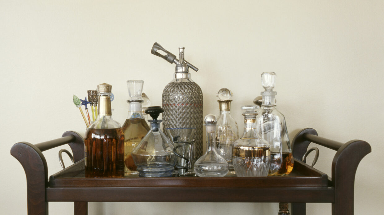 Decanters on a bar cart