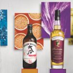 Colorful whiskies on podiums