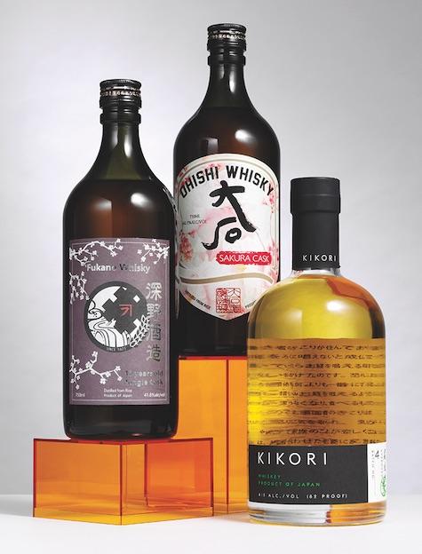 Three bottles of japanese whisky