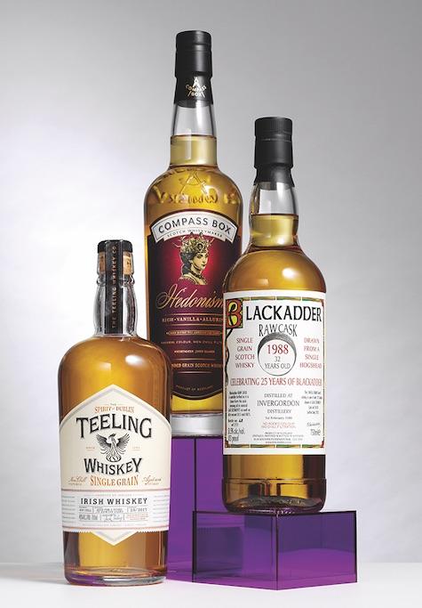 Three bottles of grain whisky