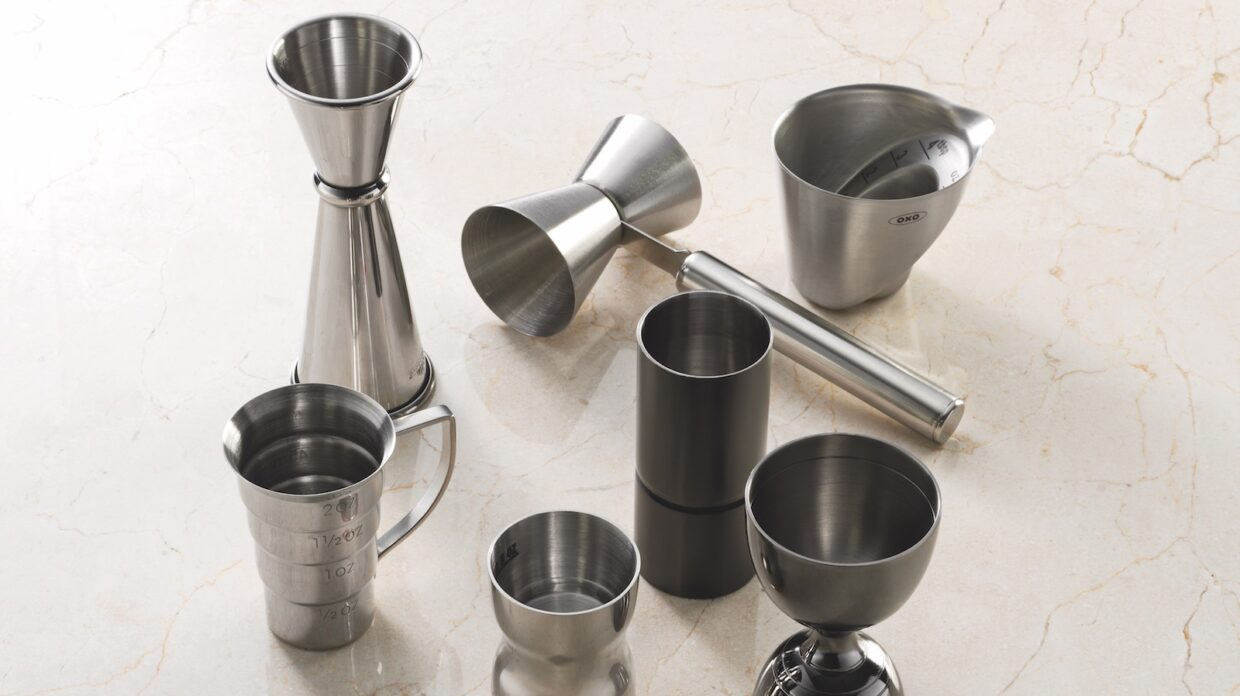 Stainless steel whiskey joggers on a counter