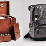 Two leather carrying cases